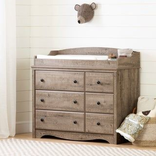 South Shore Angel Changing Table 6 Drawers Weathered Oak