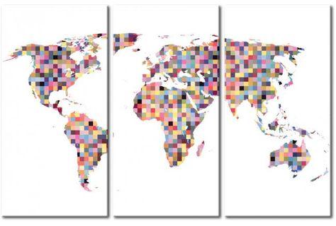 Tableau Moderne Carte Du Monde En Pixels Triptyque 55368