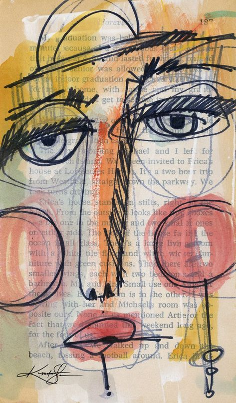 Funky Face 42 - Mixed Media Painting by Kathy Morton Stanion by Kathy Morton Stanion