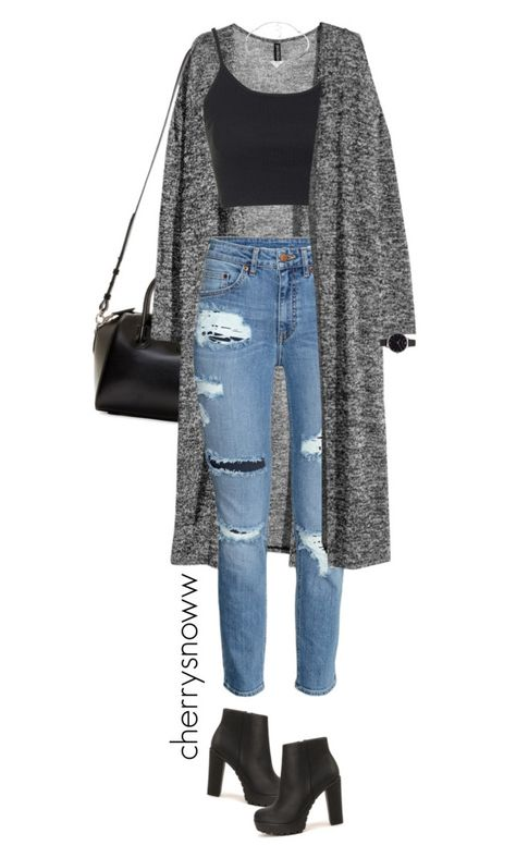 Grunge chic torn jeans and long cardigan outfit from cherrysnoww liked - Elegantes outfit - Roupas Ideias Cute Casual Outfits, Swag Outfits, Mode Outfits, Grunge Outfits, Stylish Outfits, Fall Outfits, Diy Outfits, Polyvore Outfits Casual, Teen Winter Outfits