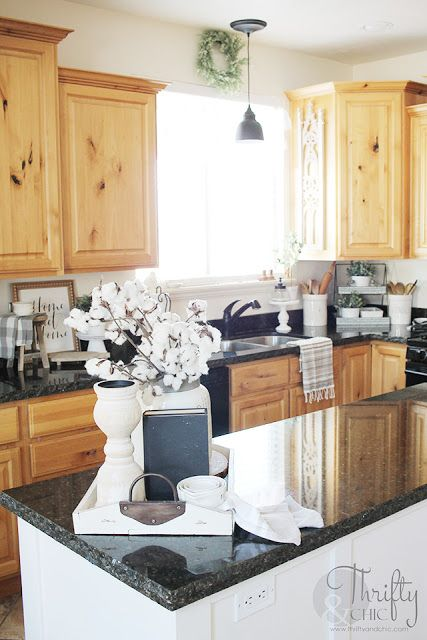 Kitchen Decor And Updates Embracing What I Have Black Kitchen Countertops Kitchen Black Counter Kitchen Counter Decor