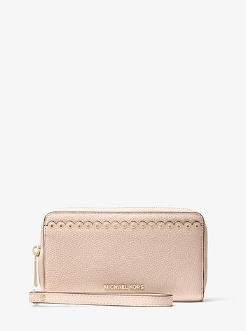 d6089529f318 Large Scalloped Leather Smartphone Wristlet