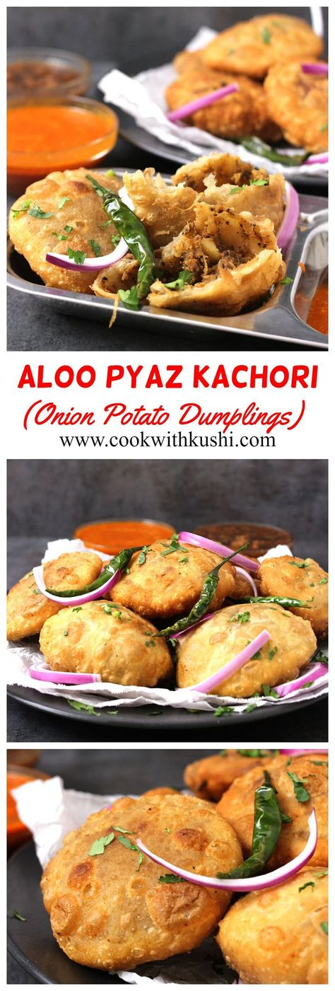 Aloo Pyaz Kachori or Onion Potato Dumplings are popular Indian snack with crispy and flaky texture on the outside and spicy, delightful and flavorful filling on the inside. #diwalisnacks #diwalirecipes #diwalipartyideas #paapdichaat #alookikachori #rajkachori #indianstreetfood #indiansnacks #vegansnacks #mashedpotatodumplings  #indianchaat #khastakachori #matarkachori #pyazkachori #onionpotatodumplings #frieddumplings #holi #holidayrecipes #spicyfood  #kachori #chaat #streetfood #potatorecipes