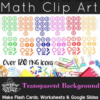 Transparent Background Numbers And Math Symbols Clip Art Bold Colors Set Clip Art Math Clipart Make Flash Cards