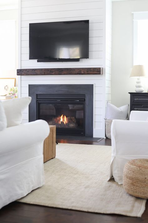 updating our living room for spring - Holy City Chic updating our living room for spring - Holy City Chic updating our living room for spring - Holy City Chic Basement Fireplace, Home Fireplace, Living Room With Fireplace, Fireplace Surrounds, Cozy Living Rooms, Home Living Room, Living Room Designs, Fireplace Ideas, Fireplaces