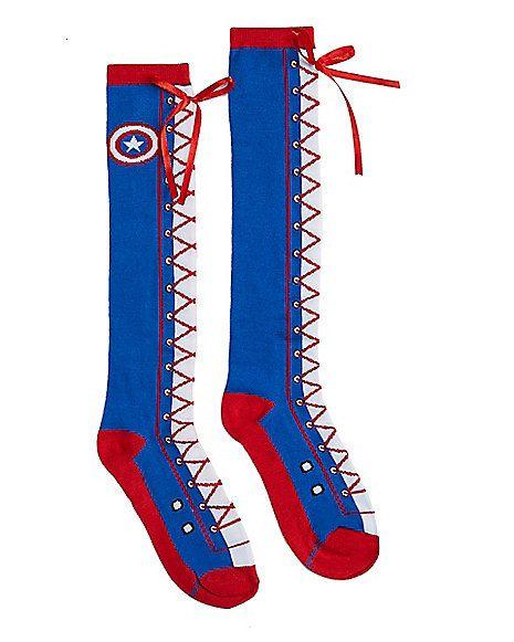 bb6aa5bd3 Ladies Marvel Captain America Knee High Socks - Walmart.com ...