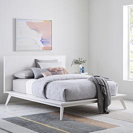 Rhyan Bed White Bed Furniture Bedroom Furniture Mid Century Platform Beds