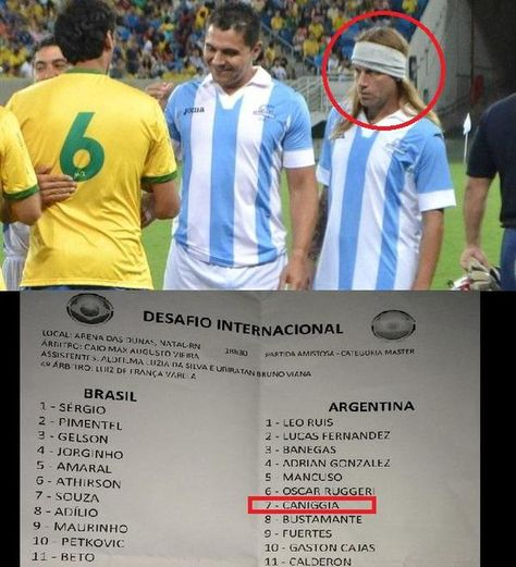 En noviembre de 2014, en Natal, se enfrentaron equipos de veteranos de la selección de Brasil y de Argentina. En la nómina oficial, figuraba con el número 7 Claudio Caniggia, y así fue anunciado por los altoparlantes del estadio. En realidad, era Carlos Cordone disfrazado de Caniggia, con pelo largo rubio y vincha.