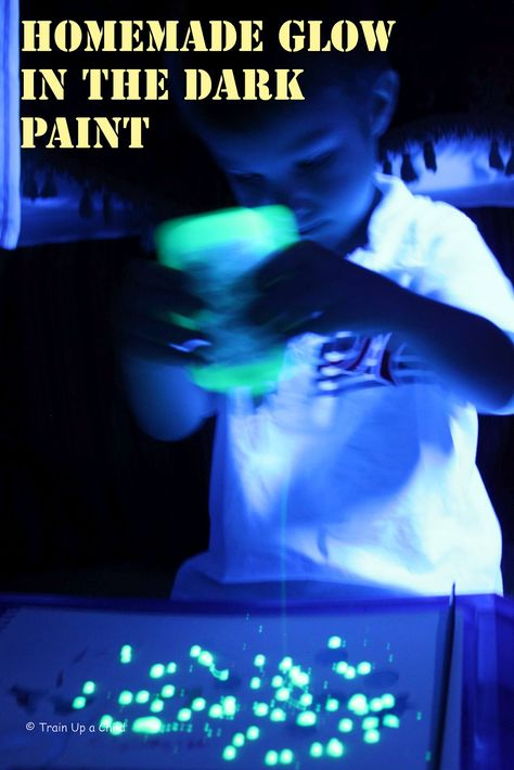 Homemade Glow in the Dark Paint is super simple:School Glue  (A half used bottle is perfect)  +Glow Water  (All you need is a yellow highlighter and water)  =  Glow in the Dark Paint!