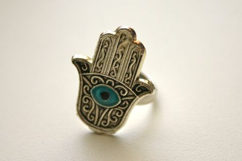 Adjustable Silver Ring Evil Eye Hand of Fatima Middle by JewelRush