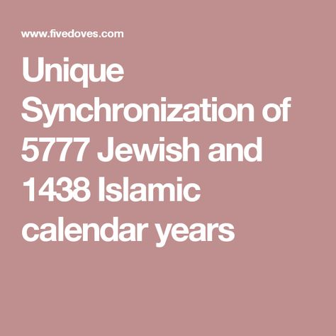 Unique Synchronization of 5777 Jewish and 1438 Islamic calendar years