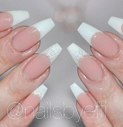 56 Trendy Nails Gel Coffin Shape French Tip Nail Designs French Tip Acrylic Nails French Tip Nails