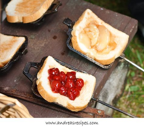 Pie Iron Recipe- Using Hawaiian Bread, Pound Cake, or french toast with pie filling might be tasty.