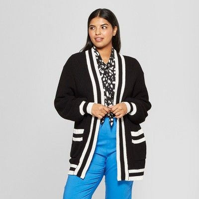 781d859a9aa Women's Plus Size Striped Long Sleeve Varsity Cardigan - Who What ...
