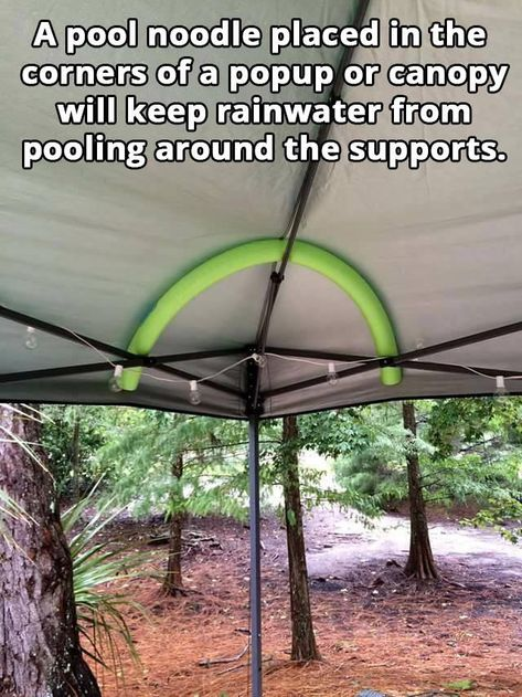 Pool Noodles Hacks Now you know who to keep the rain water🌧️ out of your canopy🎪 Pool Canopy, Canopy Outdoor, Outdoor Fun, Outdoor Ideas, Camping In The Rain, Camping Life, Camping Hacks, Camping Ideas, Tent Camping