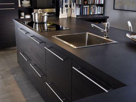Charmant Zoom Sur La Nouvelle Finition Brun Noir   Les Nouvelles Cuisines Ikea 2014  En 40 Photos   CôtéMaison.fr