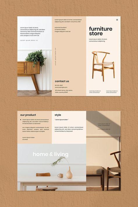 Download premium vector of Vintage furniture store brochure template