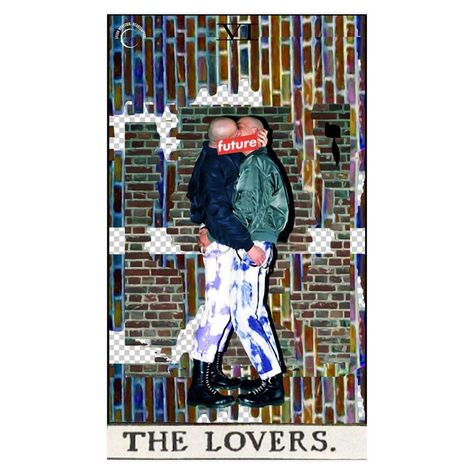 "lilian • art • design on Instagram: ""the lovers. 🖤 . . #godsavethefuture #6 #ז #tarotcollage #nofuture #digitalcollage #c_expo #majorarcana #tarotcard #thelovers #collage_expo…"""