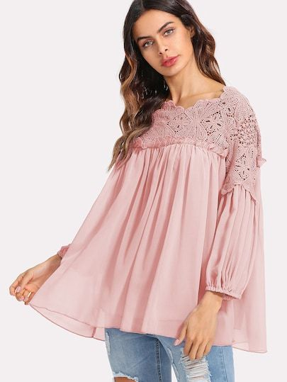 8ce18f72a7 Beautiful Guipure Lace Yoked Semi Sheer Smock Top in Dusty Pink. So ...