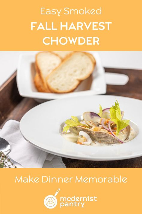 Creamy, smooth, smoked chowder - at home and DIY with this easy recipe loaded with intense depth of flavor. Exquisite food doesn't have to be difficult.  #newenglandclamchowder #clamchowder #easyclamchowder #bestclamchowder