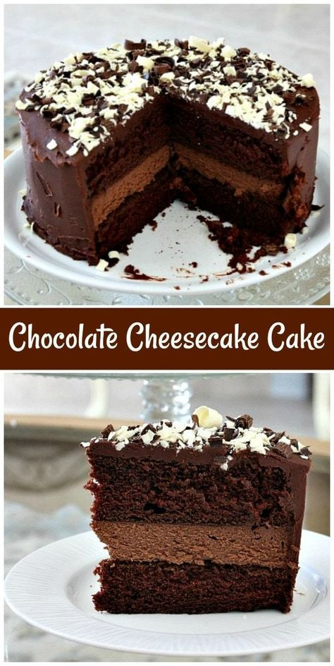 This Chocolate Cheesecake Cake recipe is a decadent Chocolate Cake with a layer chocolate cheesecake in the middle. Just Desserts, Delicious Desserts, Dessert Recipes, Dinner Recipes, Yummy Food, Food Cakes, Cupcake Cakes, Muffin Cupcake, Cheesecake Cake