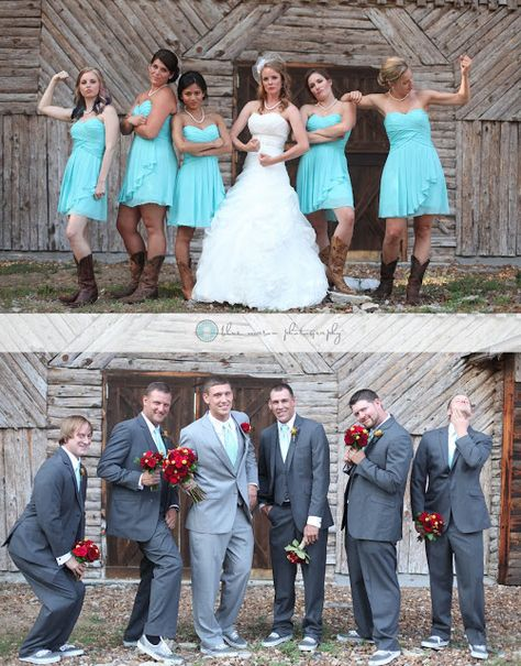 Bridesmaids pose like the guys and Groomsmen pose like the girls! Love this picture!