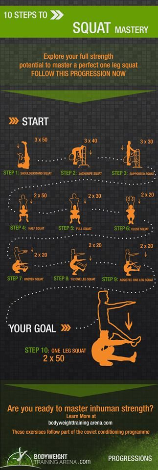 Pistol Squat progression up to a pistol squat visualized and explained in an infographic following convict conditioning routines