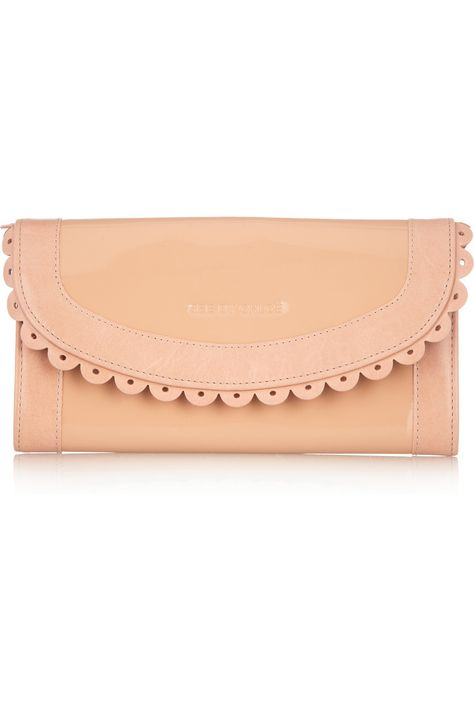 SEE BY CHLOÉ  Poya leather-trimmed patent wallet