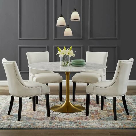 Jocelyn Artificial Marble Dining Table Dining Table Marble Round Dining Table Sets Dining Table Gold