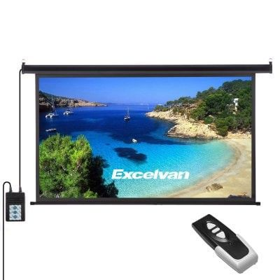 Excelvan 120 Inch 16 9 1 2 Gain Wall Ceiling Electric Motorized Hd Projector Screen With Remote Control Up And Down For Home And Office Pse Outdoor Projector Screens Outdoor Projector Projector Screen