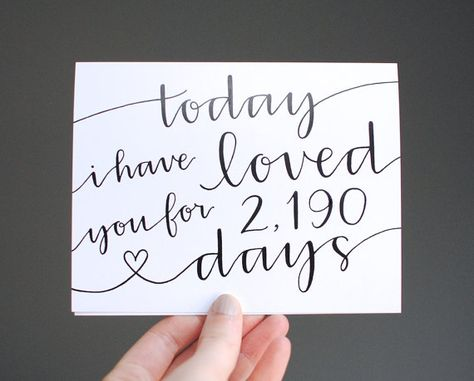 Romantic Card // Today I Have Loved You For So Many Days, Personalized Number, Modern Calligraphy, Black and White, Blank Inside, Single on Etsy, $6.50