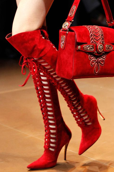 Fall 2014 Ready-to-Wear Versace red suede boots (thigh high)