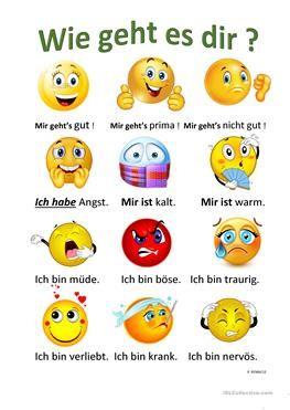 Wie geht es dir ? (mit Bildern) | Deutsch lernen, Deutsch
