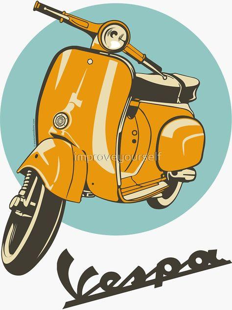 Pegatinas originales del tema Vespa ● Hechas y vendidas por artistas ● Ahorra hasta un 50 % ● Decor... Vespa V50, Moto Vespa, Vespa Logo, Scooters Vespa, Piaggio Vespa, Vespa Vector, Vespa Roller, Vespa Illustration, Vespa Vintage