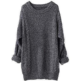Liny Xin Women s Cashmere Oversized Loose Knitted Crew Neck Long Sleeve  Winter Warm Wool Pullover Long Sweater Dresses Tops (Dark Grey) e48e71c44