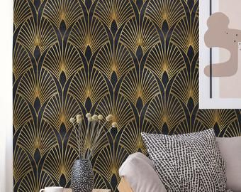 Removable Wallpaper Peel And Stick Geometric Wallpaper Etsy Art Deco Wallpaper Geometric Wallpaper Art Deco