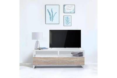 Meuble Tv Idmarket Meuble Tv Falko Bois Blanc Et Imitation Hetre Floating Nightstand Furniture Home Decor