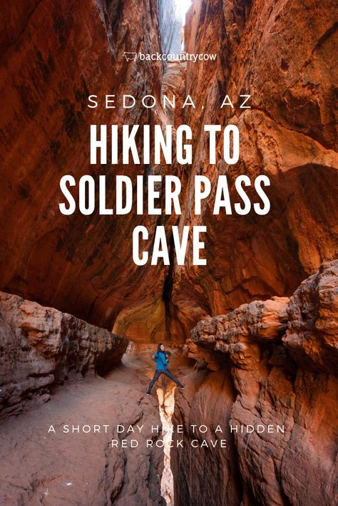 Wandern zu Soldat Pass Cave in Sedona, Arizona, Sedona Arizona, Arizona Road Trip, Arizona Travel, Hiking In Arizona, Oak Creek Canyon Arizona, Colorado Hiking, Las Vegas Hotels, Sedona Hikes, Sedona Camping