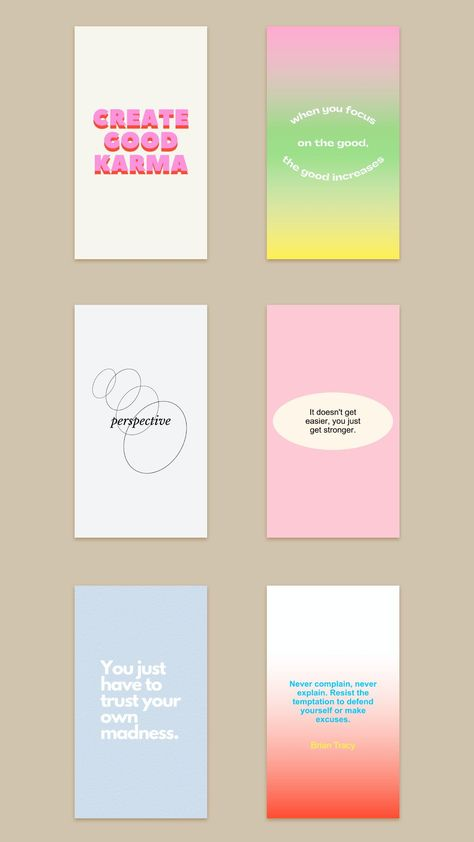 Gradient Instagram Template. Colorful Instagram Feed. Short Inspirational Quotes.
