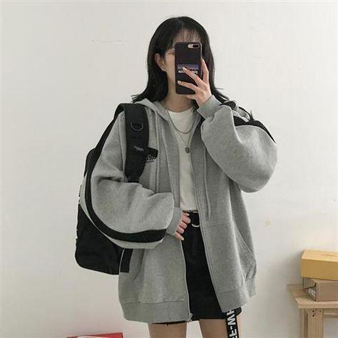 Lazy Plush and Thick Zip-up Autumn And Winter Fashion Women Sweatshirt  hoodie coat  Korean Soild Color Long Sleeve Female - 2342 / XXL