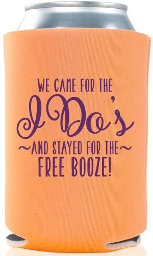 These Custom Wedding Koozies By Gracious Bridal Will Keep Your Guests Drinks Cold While They Watch You Say I Do Graciousbridal Pinterest