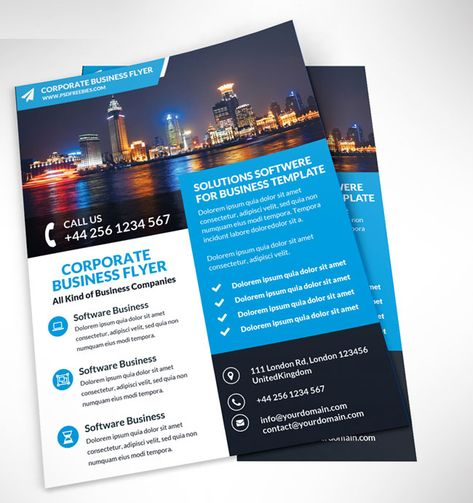 A Professional and Free Flat Design Corporate Flyer PSD Template - product flyer