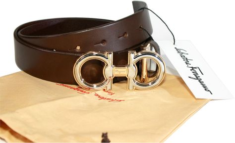Salvatore Ferragamo Double Gancio Brown Color Leather Men s Belt  W28-29-30-31 481546af98