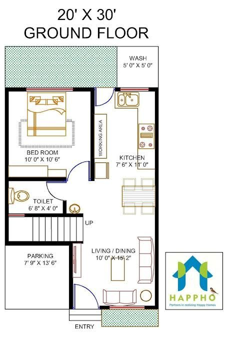 Image Result For House Plan 17 30 Sq Ft 20x30 House Plans 2bhk House Plan 20x40 House Plans