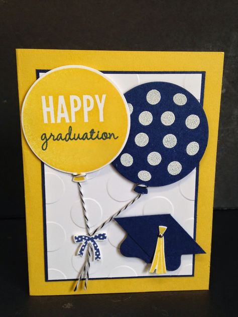 handmade graducation card from Christi's Creative Crew ,,, navy and golden yellow school colors .. big die cut balloons ,,, one with the sentiment ... Stampin' Up!