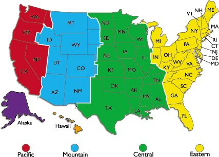 7 best maps of USA time zone images on Pinterest Time zone map