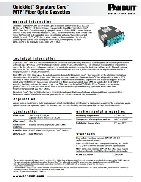 Pin By Denis Oze On Panduit Helpful Brochures Catalogues Etc Fiber Optic