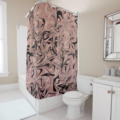 Rose Gold Pink Black Metallic Marble Swirl Shower Curtain