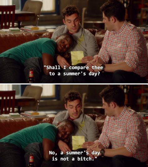 "When he wrote an accurate sonnet for his ex: 24 Times Nick Miller From ""New Girl"" Was The Best Character Ever To Appear On Television New Girl Quotes, Tv Quotes, Movie Quotes, Funny Quotes, New Girl Memes, New Girl Funny, The Funny, Freaking Hilarious, Funny Life"