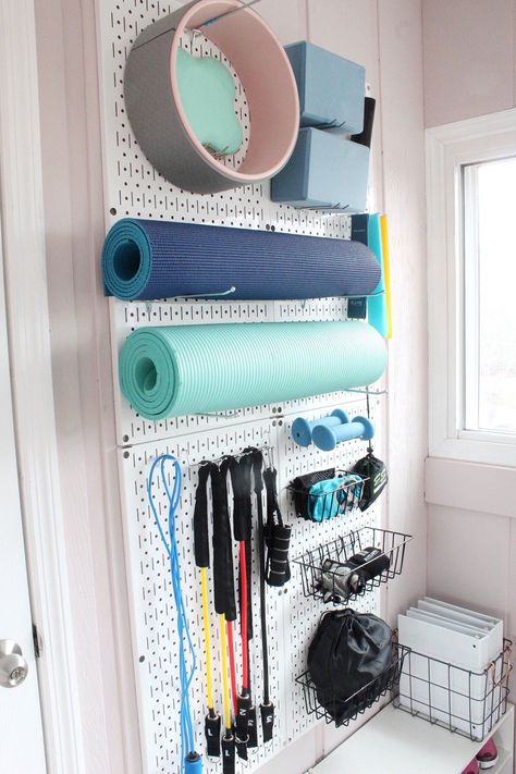 Workout Room Home, Gym Room At Home, Home Office Space, Workout Rooms, Pegboard Storage, Metal Pegboard, Small Home Gyms, Dance Rooms, Affordable Storage